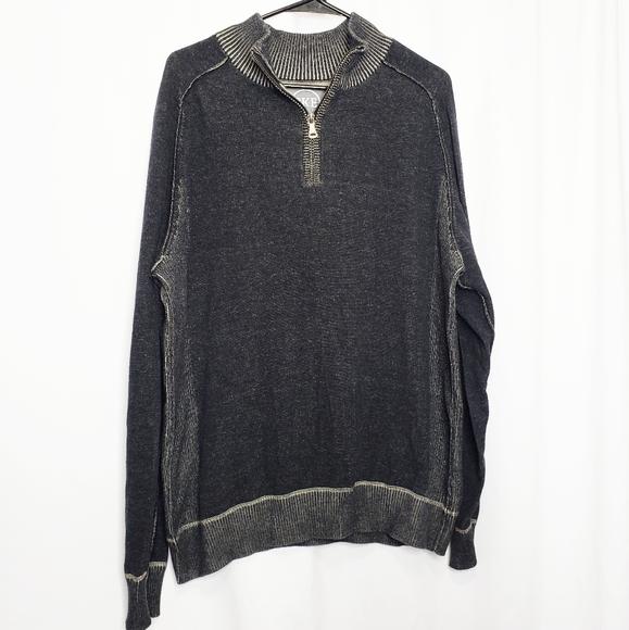 BKE BUCKLE Men Black Long Sleeve Half Zip Pullover